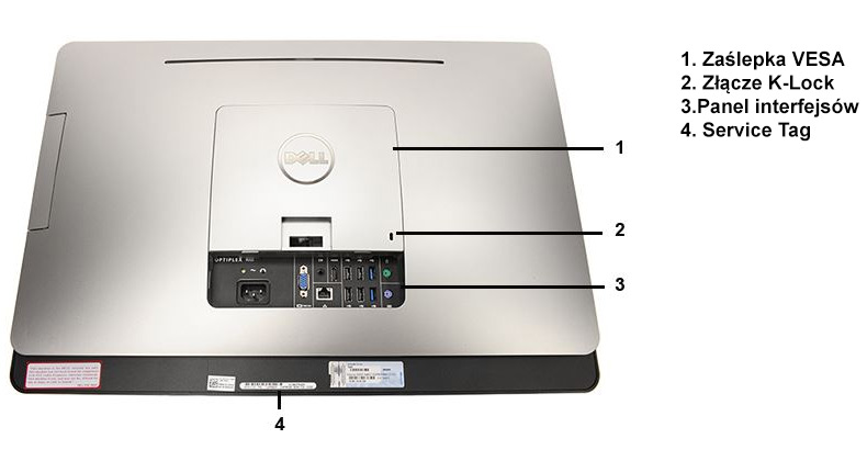 Dell AIO Optiplex 9020 tylna